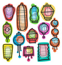 Asian holiday hand drawn doodle paper lanterns vector