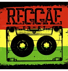 Audiocassette and reggae lettering reggae design vector