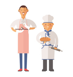 beautiful young chef decorating delicious vector image