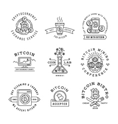 Bitcoin logo templates set Cryptocurrency badge vector image