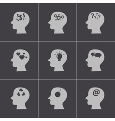 black thoughts icons set vector image vector image