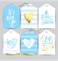 blue sticker set it s a girl calligraphy vector image