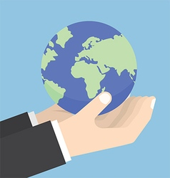 Businessman hands holding the world vector image vector image