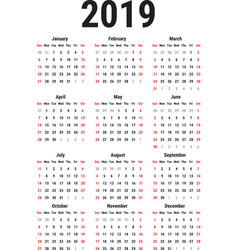 Calendar of 2019 vector