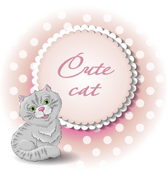 cute cat draw vector image vector image
