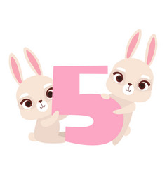 Funny cute bunny animals and number five birthday vector