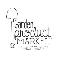 Garden product market black and white promo sign vector