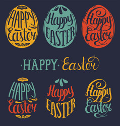happy easter type cards in the egg shape vector image