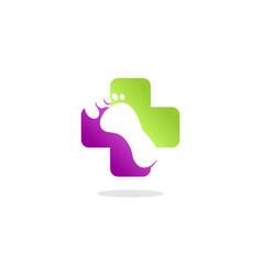 healthy cross foot logo vector image vector image