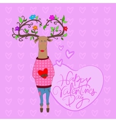 Hipster deer falling in love vector