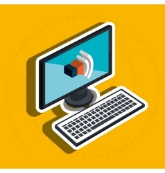 isometric desktop computer with isolated icon vector image vector image