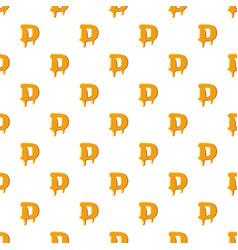 Letter d from honey pattern vector