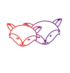 line cute fox head animal couple together vector image vector image
