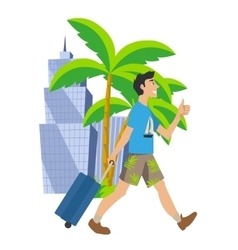 Man goes on vacation Traveling to another country vector image vector image