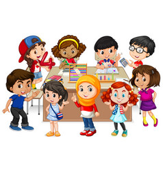Many kids learning math in classroom vector