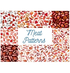 Meat and sausages seamless patterns vector image