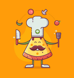 pizza man in chef hat cooking vector image