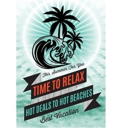 retro poster with palm tree and an inscription for vector image vector image