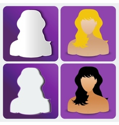 Set of four womens custom icons amethyst color vector