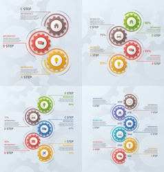 set of vertical timeline infographic templates vector image vector image
