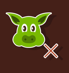 sticker of pig in graphic style hand drawing vector image