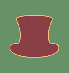 Top hat sign cordovan icon and mellow vector