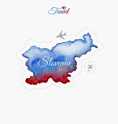 Travel around the world slovenia watercolor map vector
