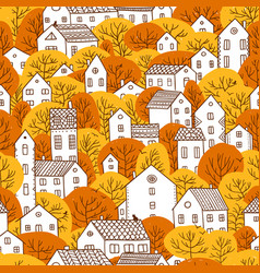trees and houses seamless pattern autumn orange vector image