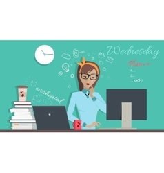 Wednesday wworking day woman planning her work vector