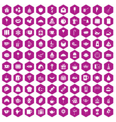 100 tea party icons hexagon violet vector image vector image