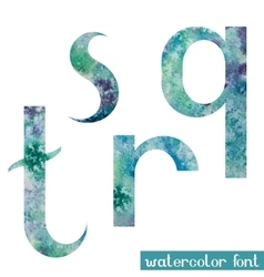 Green-blue watercolor font qrst vector
