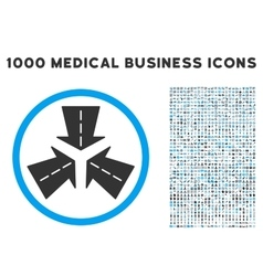 Merge directions icon with 1000 medical business vector