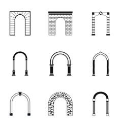 Archway icons set simple style vector