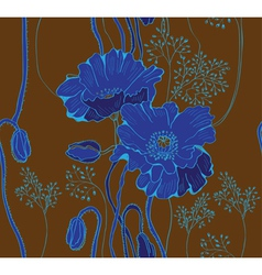 Seamless blue floral background vector