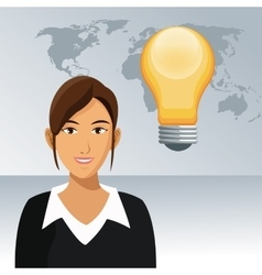 Woman work office bulb creativity world background vector