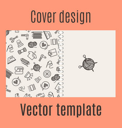 Cover design with sewing pattern vector