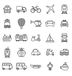 Transportation line icons on white background vector