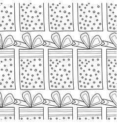 Black and white seamless patterns with gift boxes vector