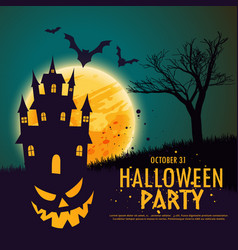 Happy halloween background with haunted house vector