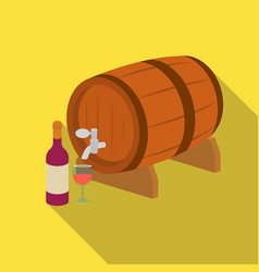 wooden wine barrel icon in flat style isolated on vector image
