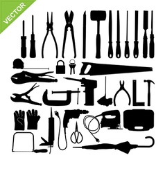 Set of Tools silhouette vector image