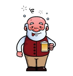 Old man being drunk vector image