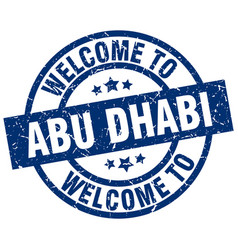 Welcome to abu dhabi blue stamp vector