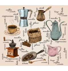 Vintage coffee handdrawn set vector