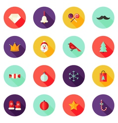 Christmas circle flat icons set 1 vector