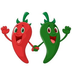 Red and green pepper holding hand vector image