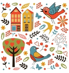 Colorful seamless pattern with birds flowers and vector