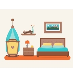 Bedroom with bed and cot vector