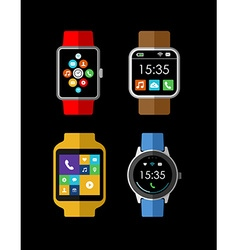 Smart watch set in 2d style with social interface vector