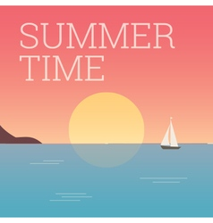 Summertime landscape sunset vector